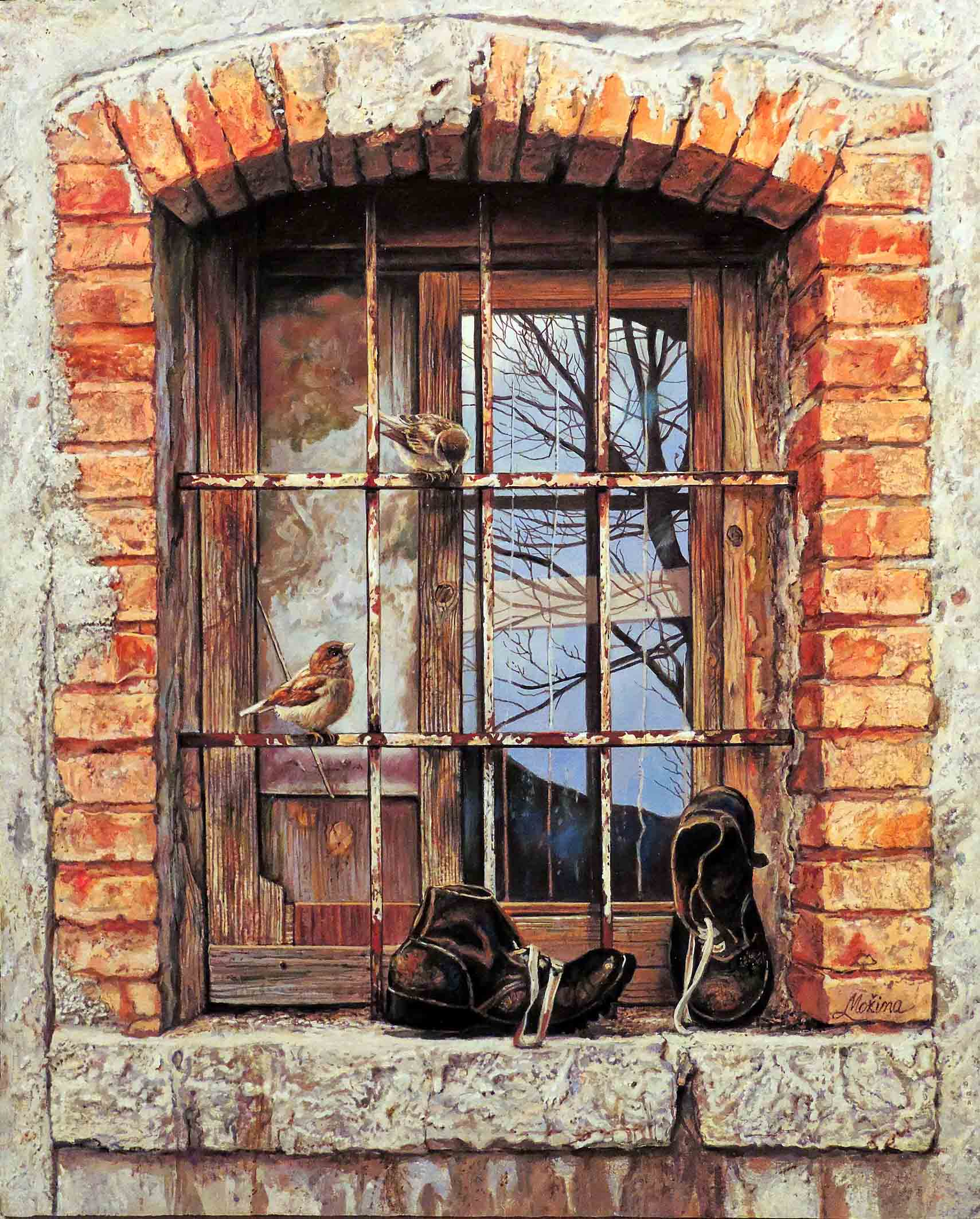 Livio Možina - Passerotti (olio su tavola, 43x35 cm)