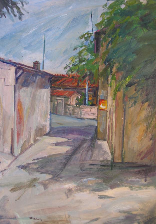 Strada di periferia cm. 100 x 70 anno 1970 carta archivio 0143