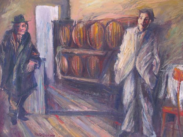 osteria olio su carta cm. 50 x 70 anno 1975 archivio 0084