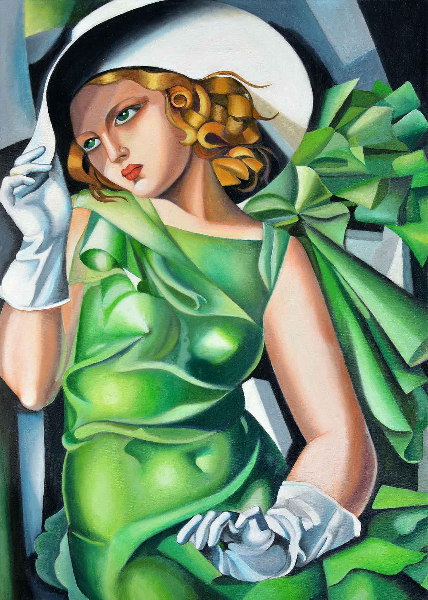 Tamara De Lempicka - Ragazza in verde con guanti 70x50
