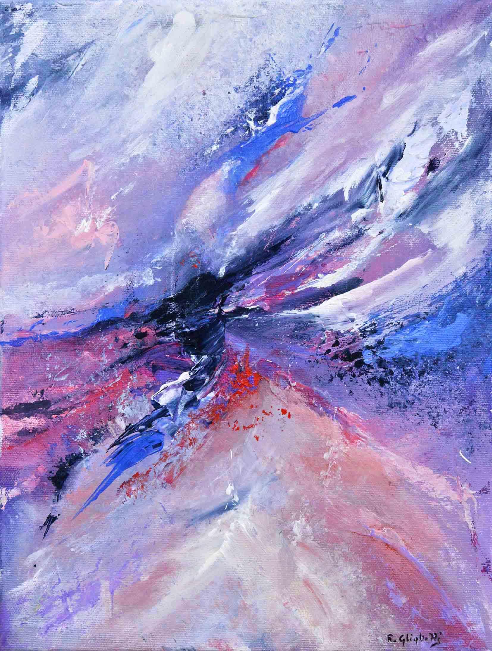 Rapsodia in viola - acrilico su tela, tecnica mista - 40x30