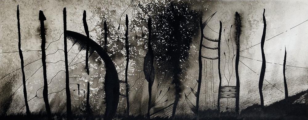 Jure Florjančič - Don Chisciotte, disegno a china cm 13x31