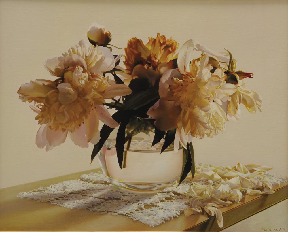 Pavel Florjančič - Peonie appassite, olio su tela cm 40x50