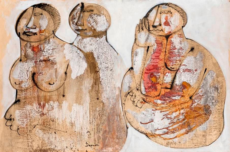 Tre figure, 1980–85, tecnica mista, 59 x 88 cm