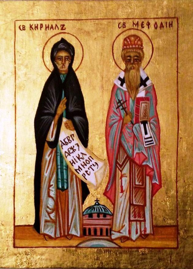 S. Cirillo e San Metodio con alfabeto cirillico