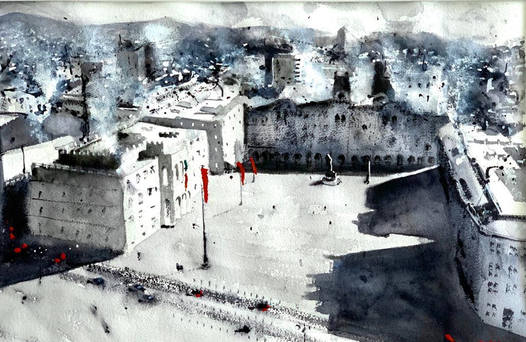 Piazza dell'Unità in B&W - acquerello 36,5 x 56,5