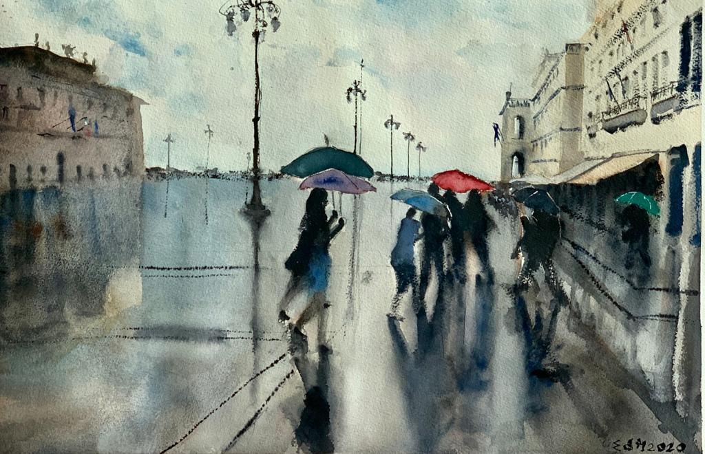Pioggia in piazza dell'Unità - acquerello 36,5 x 57,5