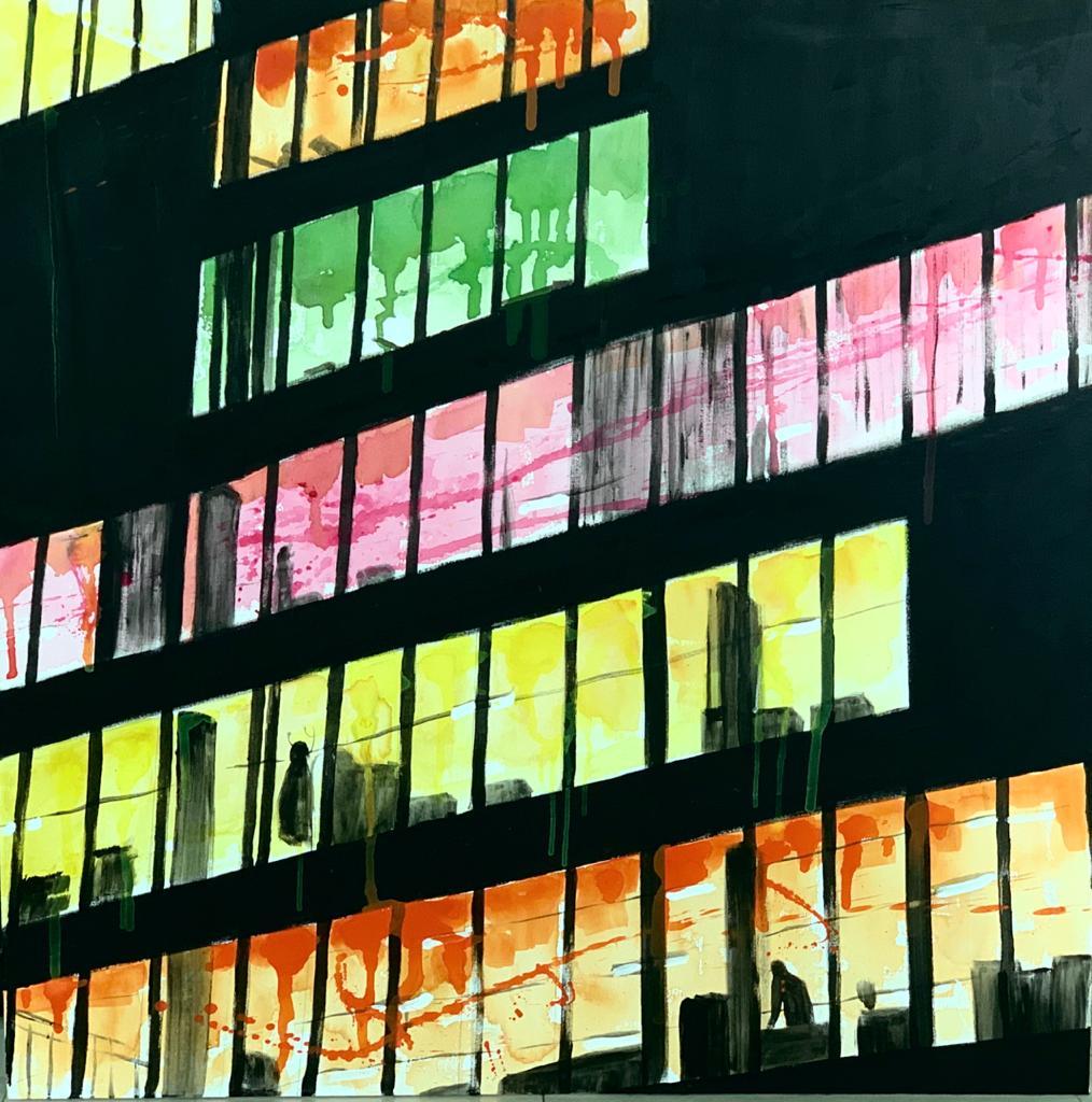 Uffici Fincantieri di notte - acrilico 120 x 120